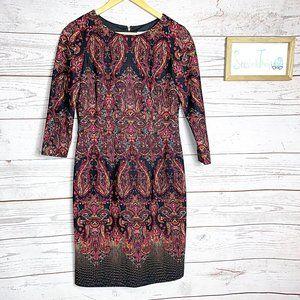 Antonio Melani 3/4 sleeve paisley sheath dress 8